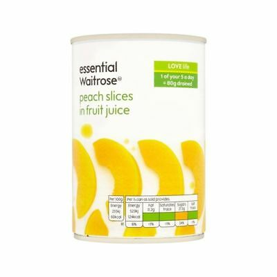 Peach Slices in Fruit Juice essential Waitrose 410g
