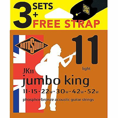 Rotosound JK11 Nickel Plated Acoustic Guitar Strings x3 Sets & FREE Strap 11-52