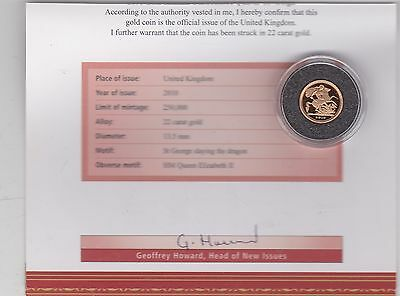 2010 Gold Bullion Issue Quarter Sovereign In Capsule With Certificate
