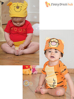 Disney Baby Winnie the Pooh Bodysuit + Hood Outfit Toddler Fancy Dress Costume