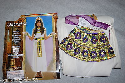 Girls Halloween Costume CLEOPATRA Full Outfit WHITE GOLD Size L 10-12