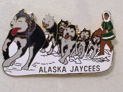 Vintage Alaska Jaycees Eskimo Dog Sled Team Enamel Lapel Hat Pin Leading The Way