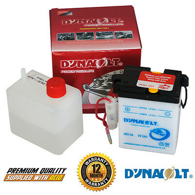 Dynavolt 6N2-2A 6v Motorcycle Scooter Battery with Acid Pack