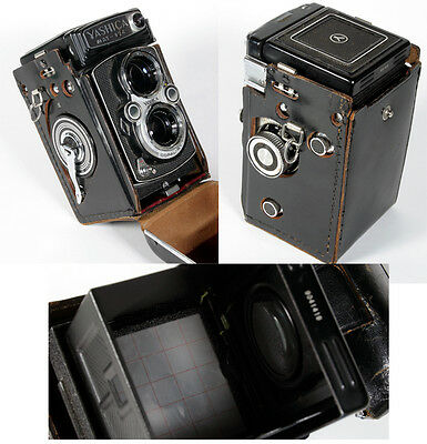 Yashica Mat-124 Tlr Camera W/ Yashinon 80Mm F/3.5 Lens+Case Cap Manual As Is