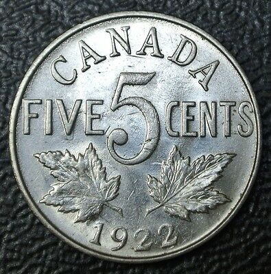 OLD CANADIAN COIN - 1922 FAR RIM - FIVE CENTS - NICKEL - George V - HIGH GRADE