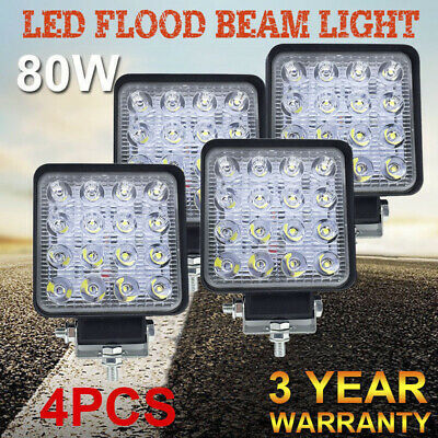 4x 80W New LED Work Flood Light Square Lamp Truck Boat Waterproof High Quality