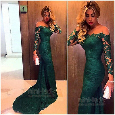 Long Women's Lace Evening Dress Party Formal Bridesmaid Prom Party Cocktail Gown