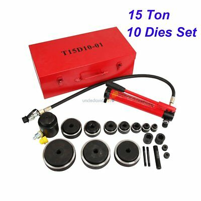 "15 Ton 4"" Hydraulic Knockout Punch Driver Kit 10 Dies Hole Case 11 14 Gauge Tool"