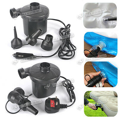 240V Mains Electric AirPump &12V Car Cigarette Plug For Camping Air Bed Swimming