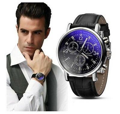 Mens Fashion Faux Leather Blue Ray Glass Business Watches Quartz Analog Watch