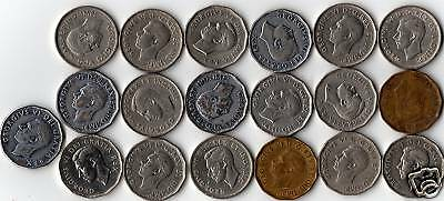 Complete Year Set Of 19 King George Vi Era 5 Cent Coins---