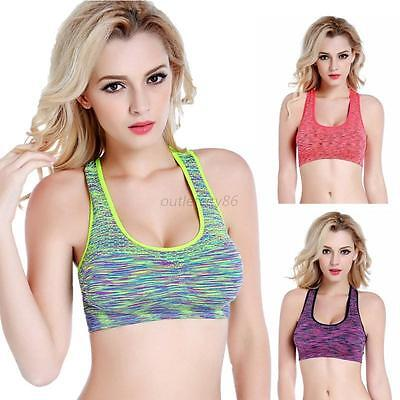 Mujer Sport Sostén Yoga Fitness Workout Running Padded Racerback Tanque Top