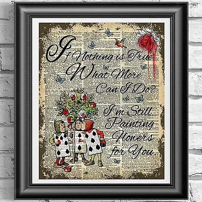 ART PRINT ON ORIGINAL ANTIQUE BOOK PAGE Red Roses Alice in Wonderland Dictionary