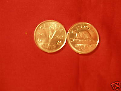 Canada 2005 5 Cent Coins 2 Varieties WWII Victory And Plain Varieties.