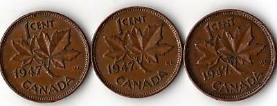3 Varieties Of 1947 Canada Small Cent Penny.