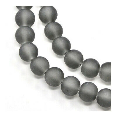 Strand of 135+ Grey Glass 6mm Frosted Round Beads Y04730