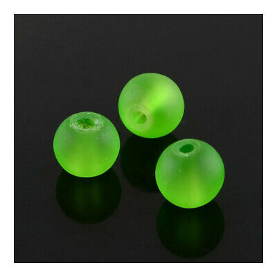 Strand of 135+ Green Glass 6mm Frosted Round Beads Y04995