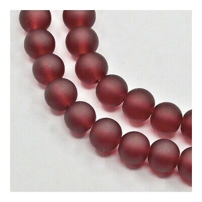 Strand 100+ Dark Red Glass 8mm Frosted Plain Round Beads Y05015