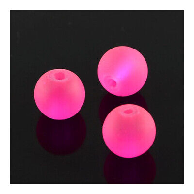 Strand 100+ Fuchsia Glass 8mm Frosted Plain Round Beads Y05130