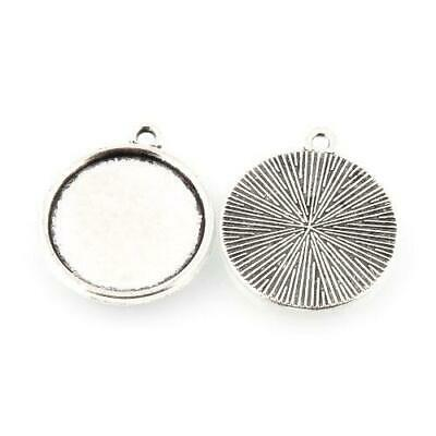 Packet 20 x Antique Silver Tibetan Coin Cabochon Settings 23 x 26mm Y05345