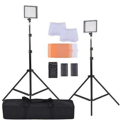 Photo Studio Photography Kit 300LED Beads W/2 Light Stand+Battery/Charger P7S8