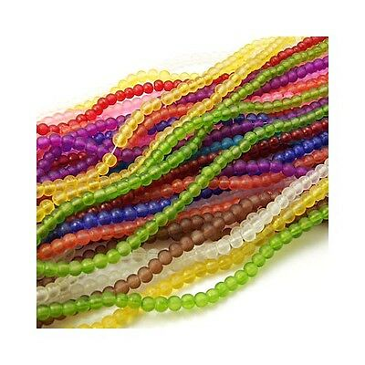 Packet 950+ Mixed Glass 4mm Frosted Plain Round Beads Y05430