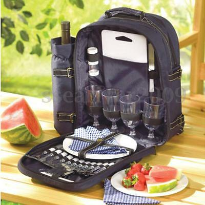 Deluxe 30pc Picnic Set Service For 4 Insulated Backpack Gourmet Basket Hiking