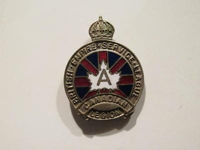 """British Empire Service League """"A"""" Early Guelphic Crown Large Lapel Pin"""