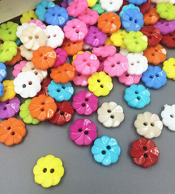 100 Pcs Mixed Flower 2 Holes Acrylic Buttons fit Sewing and Scrapbooking 13mm