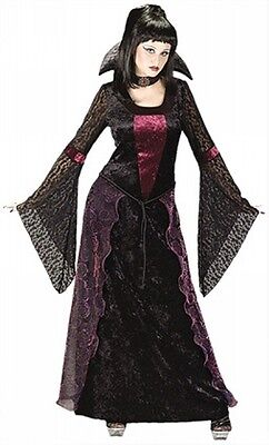 Ladies Black Red Long Gothic Vampire Halloween Fancy Dress Costume Outfit 10-12