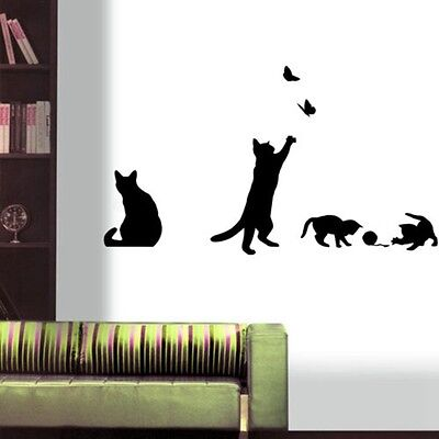 cat play living room decor removable decal vinyl mural diy art pvc