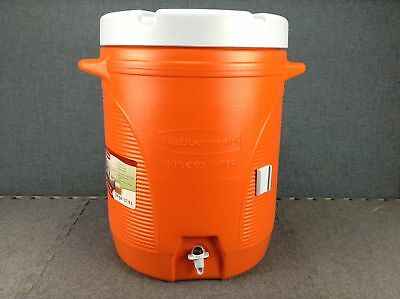 "Rubbermaid 1610 16"" Super Tough Insulated Plastic Water Cooler Orange, 10 Gal."