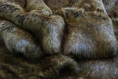 Super Luxury Faux Fur Fabric Material - BROWN CREAM WOLF