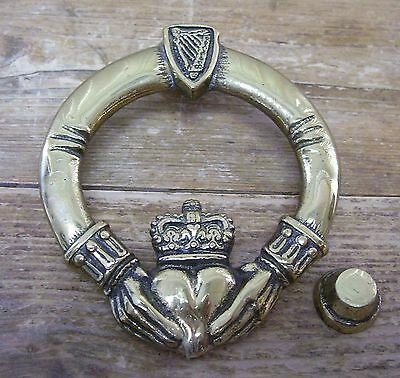 Brass Celtic Claddagh Door Knocker Irish Ireland Love Loyalty Friendship Ring