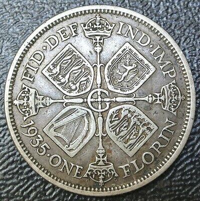 1935 GREAT BRITAIN - ONE FLORIN - .500 SILVER  - George V - Nice