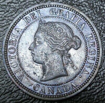 OLD CANADIAN COIN 1881 H - ONE CENT - LARGE CENT - Victoria -Nice Color & Detail