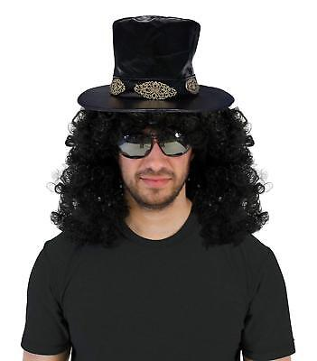 Men's Slash Curly Rocker Wig with Hat Costume Set