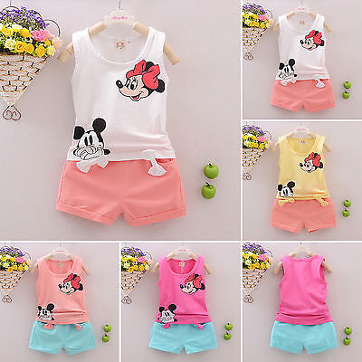 2PCS Baby Kids Girl Mickey Minnie Vest Set Short T-Shirt Pants Outfits Tracksuit