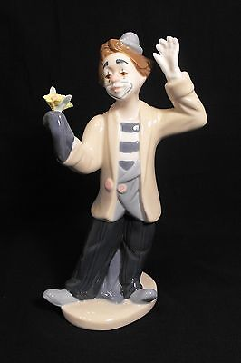"PORCELAIN 8.5"" CLOWN MAGICIAN w/ FLOWER PS PAUL SEBASTIAN  FIGURINE"