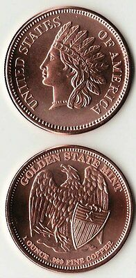 """INDIAN HEAD CENT  1 oz. Copper Round coin """"Old Eagle back""""  Golden State"""