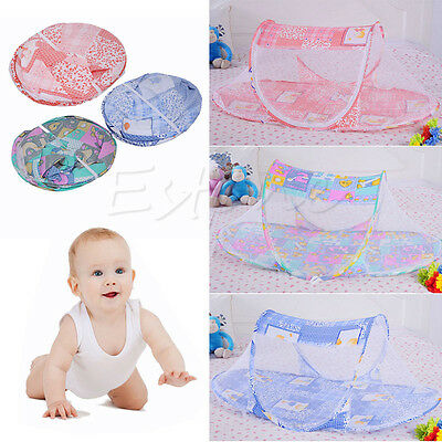Infant Baby Mosquito Net Tent Cradle Polyester Mesh Crib Netting Folding