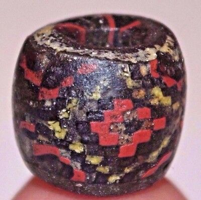Ancient Islamic Multicolored Mosaic Checker Board Glass Bead Mali, African Trade