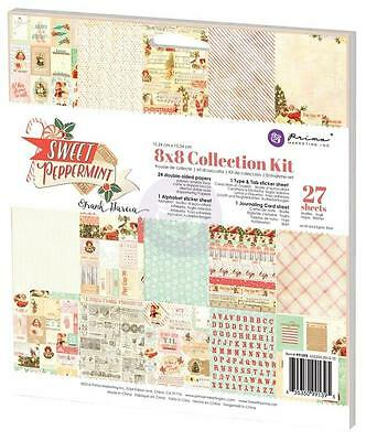 Prima Christmas SWEET PEPPERMINT 8x8 Collection Kit Paper+Sticker+Diecut 991395