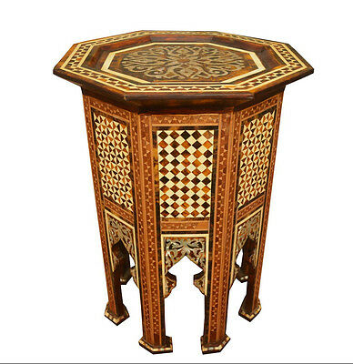 Moroccan Egyptian Handcrafted Mother of Pearl Inlaid Coffee Side Table