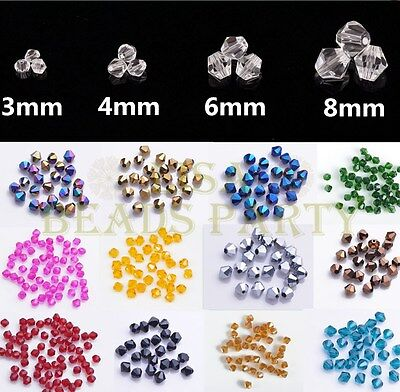 Wholesale Bicone Faceted Crystal Glass Loose Spacer Beads 3mm 4mm 6mm 8mm Lots