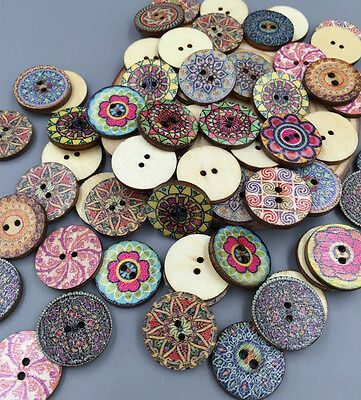 Vintage Style Flowers Wooden Buttons Scrapbooking Sewing Crafts wooden 20mm