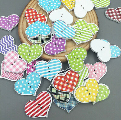 Wooden Sewing Scrapbooking Buttons LOVE Heart  2 Holes Lattice Pattern 20mm