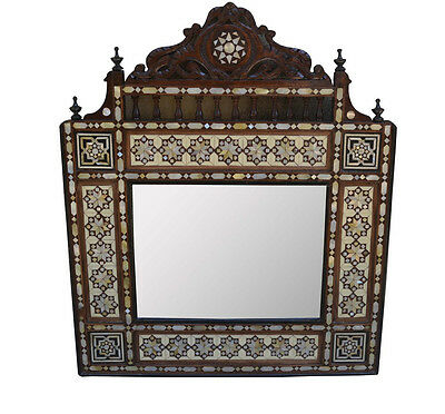 Vintage Handcrafted Egyptian Mother of Pearl Inlaid Wood Wall Mirror Frame