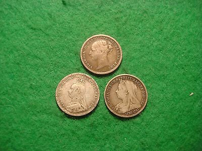 Nice Set of Queen Victoria silver threepence coins - all 3 heads  1883 1891 1897