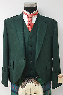 Bottle Green Tweed Argyll Scottish Kilt Jacket & Vest Made In Scotland SALE £189